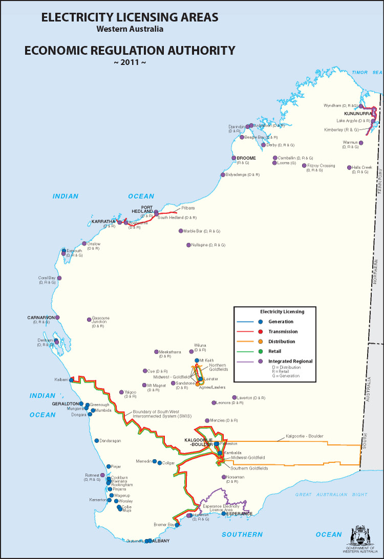 Electricty Licensing Western Australia Map
