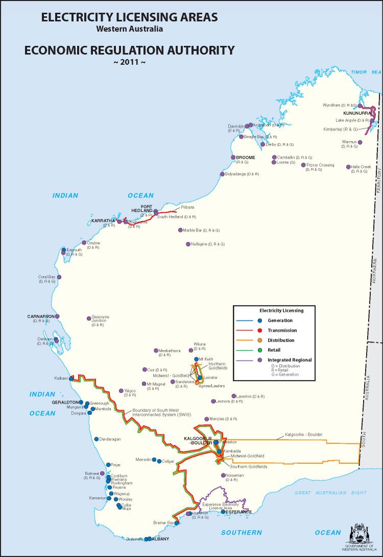 Areas Map Economic Regulation Authority Western Australia - Map of western australia