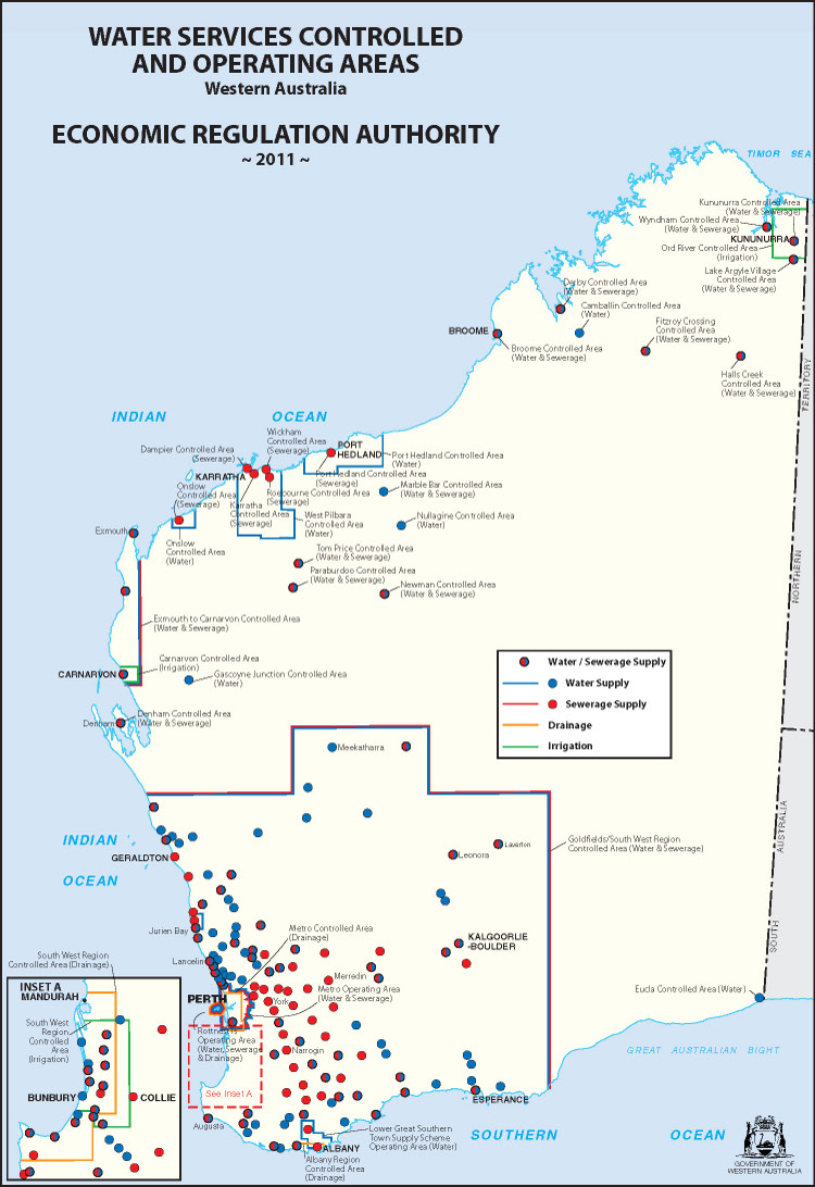 Water Services Controlled and Operating Areas Western Australia Map